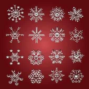 Jeu d'icône de flocons de neige de vecteur