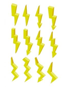 Jeu d'icône de foudre jaune plat isométrique d'électricité.