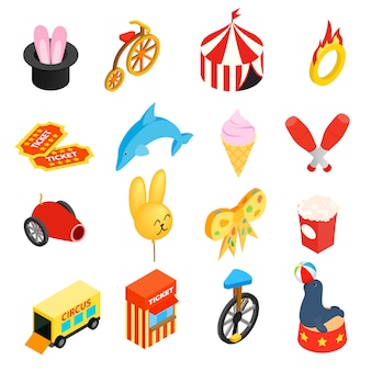 Jeu d'icônes 3d isométriques de cirque