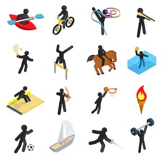 Jeu d'icônes 3d isométriques de sports d'été