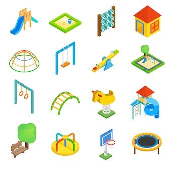 Jeu d'icônes 3d isométriques de terrain de jeu