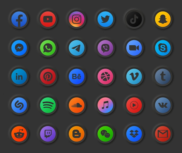 Jeu d'icônes 3d rond moderne en mode sombre des médias sociaux populaires. vidéo, photo, musique, audio, podcast, flux vidéo en ligne, hébergement de fichiers, entreprise numérique, conception, portefeuille, compte, logo d'application de chat