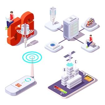 Jeu d'icônes 5g. les personnes utilisant internet haute vitesse sans fil. fournisseur de services haut débit, illustration isométrique vectorielle plane.