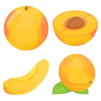 Jeu d'icônes d'abricot, style isométrique