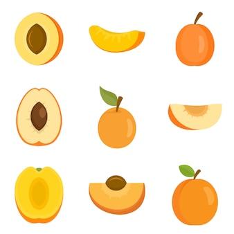 Jeu d'icônes d'abricot