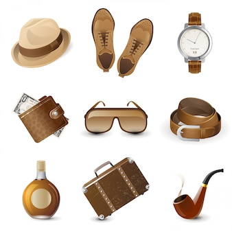 Jeu d'icônes d'accessoires pour hommes