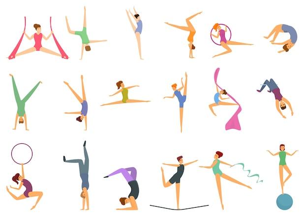 Jeu d'icônes d'acrobate, style cartoon