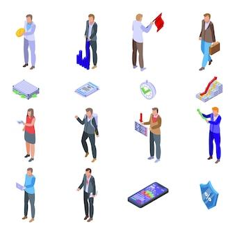 Jeu d'icônes d'actionnaire. ensemble isométrique d'icônes d'actionnaire pour le web isolé sur fond blanc