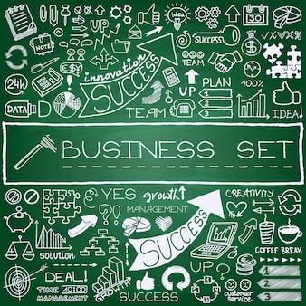 Jeu d'icônes d'affaires dessinés à la main