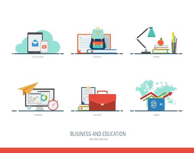 Jeu d'icônes affaires et éducation.