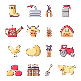 Jeu d'icônes agricoles de ferme
