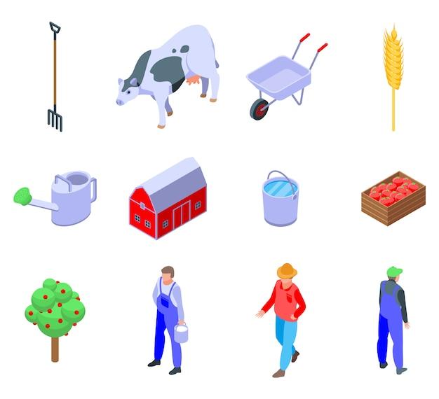 Jeu d'icônes d'agriculteur, style isométrique