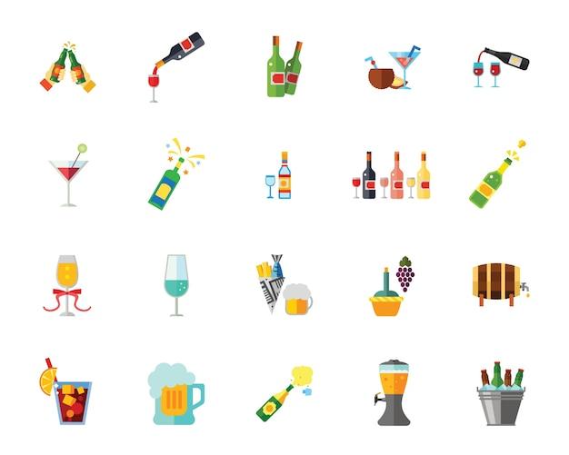 Jeu d'icônes de l'alcool