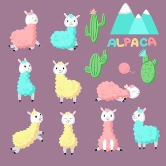 Jeu d'icônes alpaga dessin animé mignon. vector illustration dessinée de llamas et de cactus roses, jaunes, bleus drôles pour carte de voeux, invitation, carte de douche de bébé, affiche, patch, autocollant et impression.