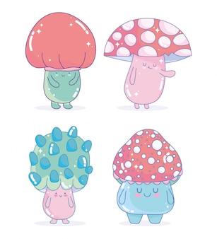 Jeu d'icônes amicales de personnages de champignons de jeu vidéo