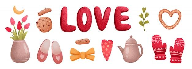 Jeu d'icônes de l'amour saint valentin, tulipe, cookie, pantoufles, gants, coeurs