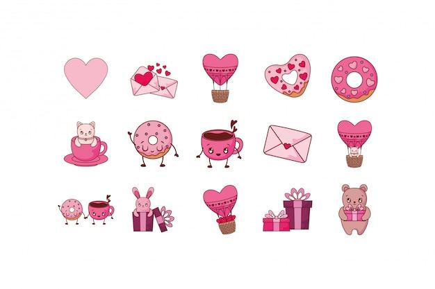 Jeu d'icônes de l'amour et de la saint-valentin