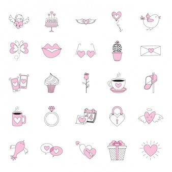 Jeu d'icônes d'amour