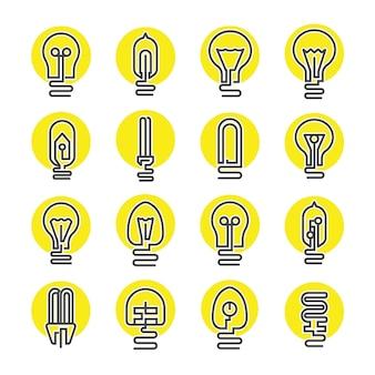 Jeu d'icônes ampoule et lampe à led
