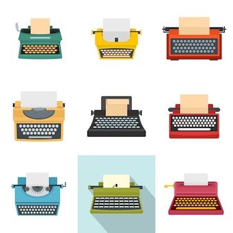 Jeu d'icônes anciennes de machine à écrire clés