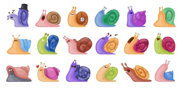 Jeu d'icônes animal d'escargot