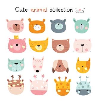 Jeu d'icônes animaux dessin animé
