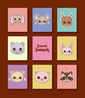 Jeu d'icônes d'animaux kawaii