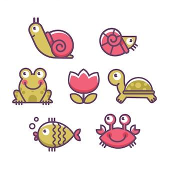 Jeu d'icônes d'animaux marins