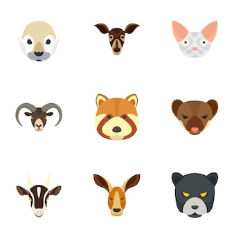 Jeu d'icônes d'animaux sauvages. ensemble plat de 9 icônes d'animaux sauvages