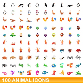 Jeu d'icônes d'animaux, style cartoon
