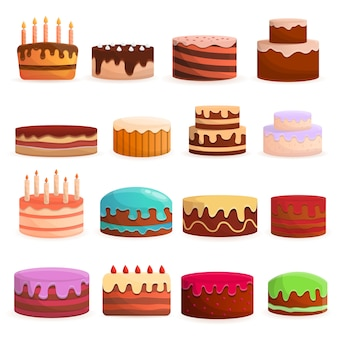 Jeu d'icônes d'anniversaire de gâteau. ensemble de dessin animé d'icônes vectorielles gâteau anniversaire pour la conception web