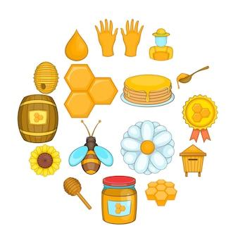 Jeu d'icônes apicole, style cartoon