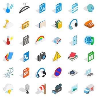 Jeu d'icônes d'application, style isométrique