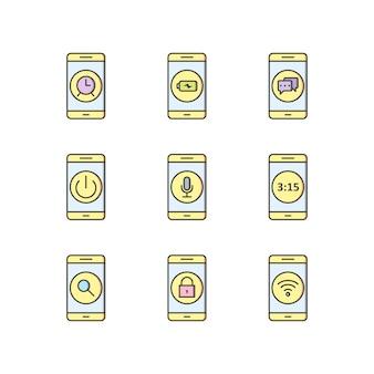 Jeu d'icônes d'applications mobiles