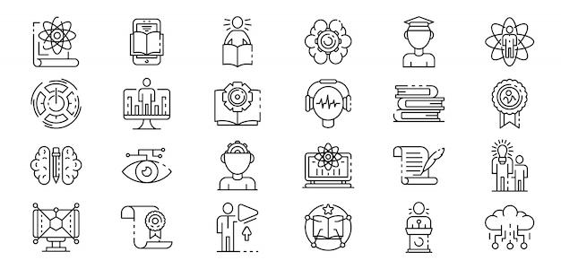 Jeu d'icônes d'apprentissage interactif, style de contour