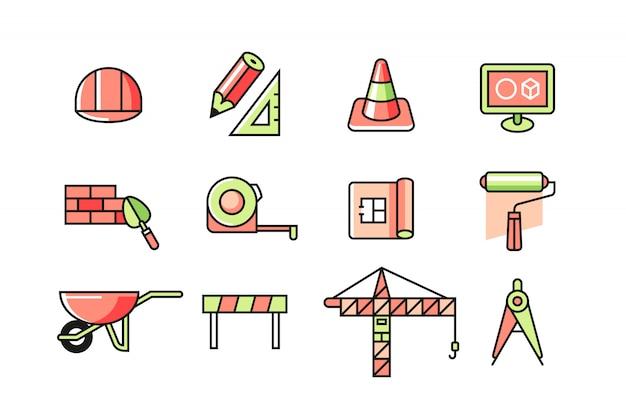 Jeu d'icônes d'architecte