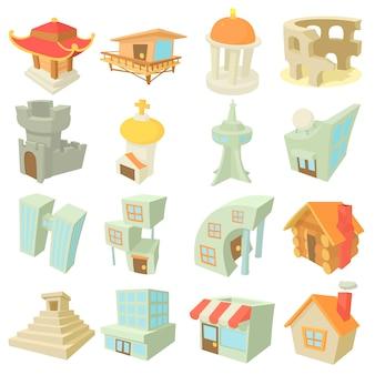Jeu d'icônes d'architecture différentes