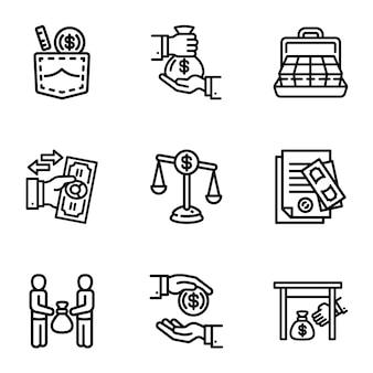 Jeu d'icônes de l'argent des affaires de corruption. ensemble de contour de 9 icônes d'argent business corruption
