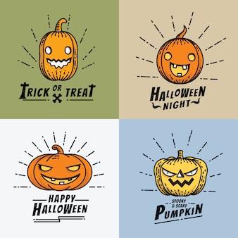 Jeu d'icônes art ligne citrouille halloween