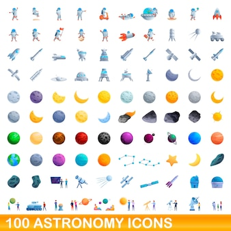 Jeu d'icônes d'astronomie. bande dessinée illustration d'icônes d'astronomie sur fond blanc