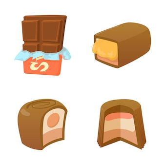 Jeu d'icônes au chocolat