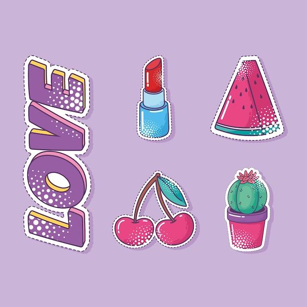 Jeu d'icônes d'autocollant élément pop art, pastèque, cactus, cerise et rouge à lèvres
