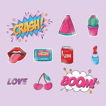 Jeu d'icônes d'autocollant élément pop art, pastèque, cactus, lèvres, soda, etc.