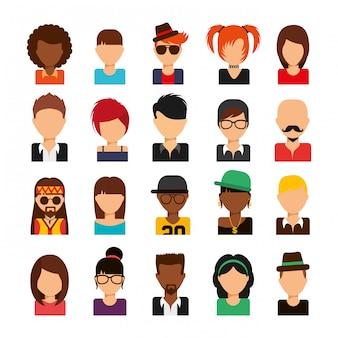 Jeu d'icônes d'avatars de médias sociaux isolé