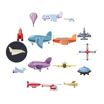 Jeu d'icônes d'aviation, style cartoon