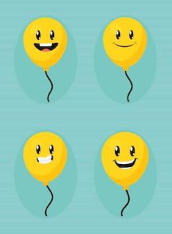 Jeu d'icônes de ballons emoji