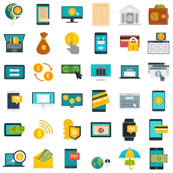 Jeu d'icônes de banque en ligne