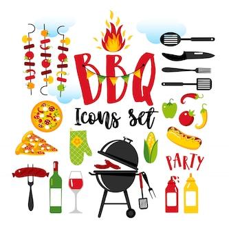 Jeu d'icônes de barbecue