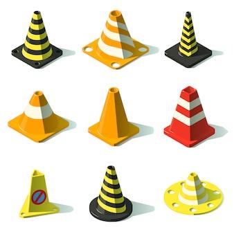 Jeu d'icônes de barrière de trafic cône. illustration isométrique de 25 icônes vectorielles de barrière de trafic de cône pour le web