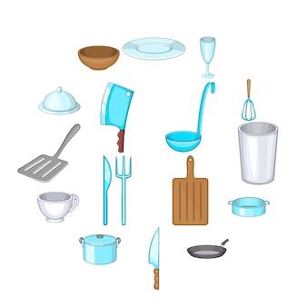 Jeu d'icônes de base des plats, style cartoon